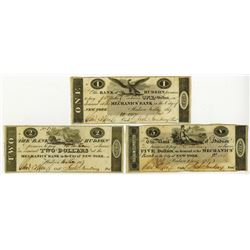Bank of Hudson 1817 Obsolete Banknote Trio.