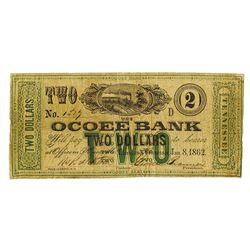 Ocoee Bank, 1862 Issued Obsolete Scrip Note.