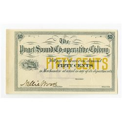 Puget Sound Co-Operative Colony, 1880's Washington Territorial Fractional Scrip Note.