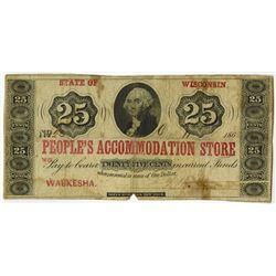 People's Accommodation Store, 1862 Obsolete Scrip Note.