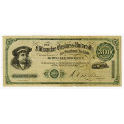 Milwaukee Business University, 1881 Issued College Currency Rarity.