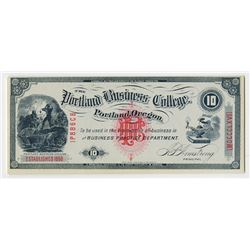 Portland Business College, 1880-90s College Currency.