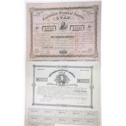 Confederate State of America 1863 Issued Bond Pair.