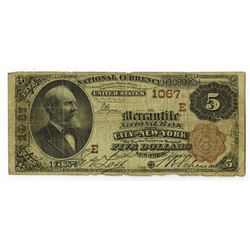 Mercantile National Bank of the City of New York, 1882 $5, Brown Back, Ch#1067 E.