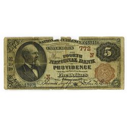 Fourth National Bank of Providence, 1882 $5, Brown Back, Ch# 772 N.