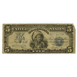 "U.S. Silver Certificate, $5, Series of 1899 ""Indian Chief"" Note, Fr# 281, Speelman 