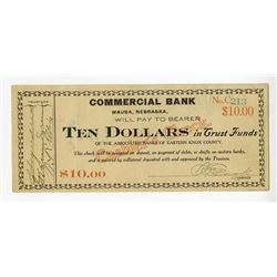 Commercial Bank, Wausa, Nebraska, 1907-1908 Depression Or Panic Currency.
