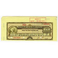 Wells Fargo & Co., ND (ca.1900-1910) Specimen Traveler's Checks.