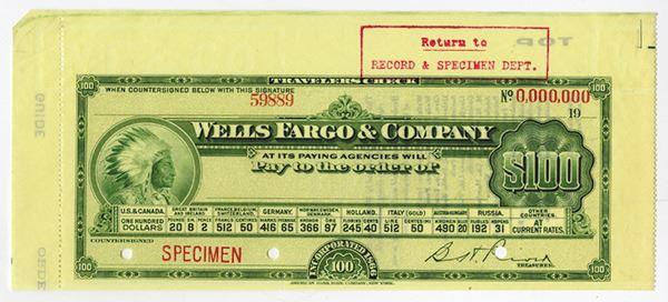 Wells Fargo & Co, ca 1910s, Specimen Travelers Check