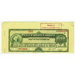 Wells Fargo & Co, ca.1910s, Specimen Travelers Check.