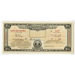 U.S. Postal Savings System, Series of 1939 (1946), Beverly Hills, California Postal Savings Rarity.