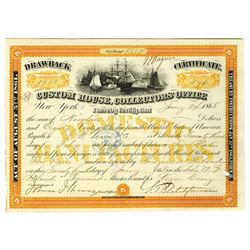 Custom House Collector's Office, 1868 Drawback Certificate.