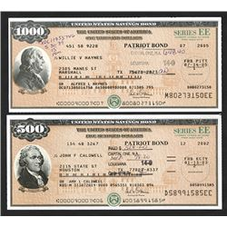 "U.S. Savings Bond, Series EE ""Patriot Bonds"", ca. 2002-2005 Bond Pair."