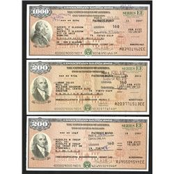 "U.S. Savings Bond, Series EE ""Patriot Bonds"", ca. 2007-2011 Bond Trio."
