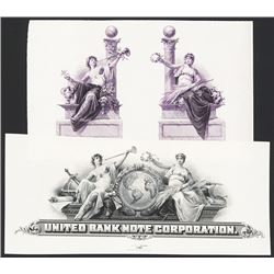 United Bank Note Corporation Stock and Bond Proof Vignette Pair.