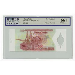 DuraNote Polymer Note, 100 Denomination Test Note with Security Devices Clear Maple Leaf.