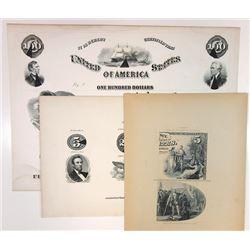 Bond and Counterfeit Detector Plates, ca. 1860-80 Trio.