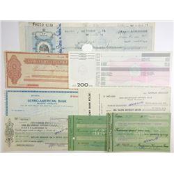Various Eastern European Issuers, 1930s-1960s, Group of 8 Checks.