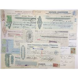 Various French Issuers, 1880s-1950s, Group of 15 Checks & Exchange Certificates.