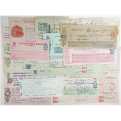 Various Worldwide Issuers, 1990s-1950s, Group of 30+ Checks & Exchange Certificates.