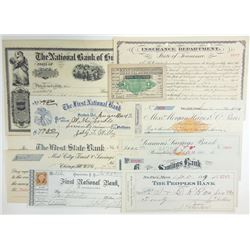 Various US Issuers, 1860s-1910s, Group of 11 Checks & Related.