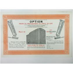 Wrigley Tooth Paste Co. 1929 Option Prior to Preparation to Apply to List.