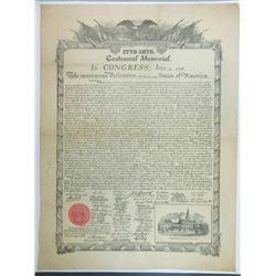 1776-1876 Centennial Memorial McBride Declaration of Independence.