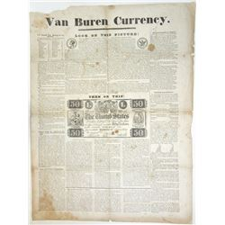Van Buren Currency, 1834 Political Satirical Broadside.