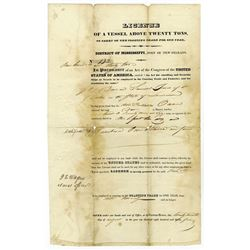 Port of New Orleans, (District of Mississippi), 1834 License of a Vessel Above Twenty Tons.