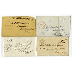 Stampless Letter Quartet from Washington, D.C. with Congressional Free Frank and Different Markings.