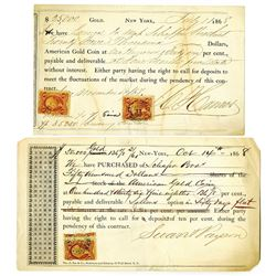 """A Pair of 1868 Puts (Options to Sell) $25,000  and $50,000 in """"American Gold Coin."""""""