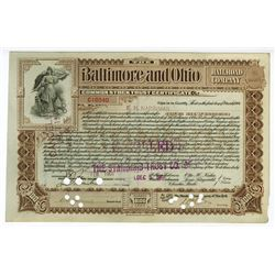 Baltimore and Ohio Railroad Co., 1901 Stock Certificate Signed by E.H. Harriman.