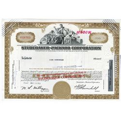 Studebaker-Packard Corp., 1963 Stock Certificate ITASB Kirt Kerkorian.