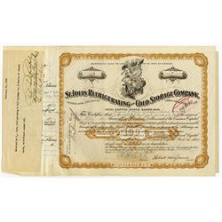 St. Louis Refrigerating and Cold Storage Co., 1930 Stock Certificate Signed by August A. Busch.