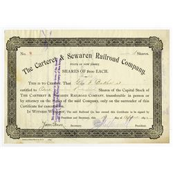 Cateret & Sewaren Railroad Co., 1892 Stock Certificate ITASB George F. Baker.
