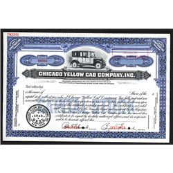 Chicago Yellow Cab Co., Inc. 1916 Specimen Stock Certificate.