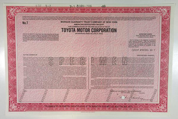 Toyota Motor Corp , 1989 Specimen ADR Certificate