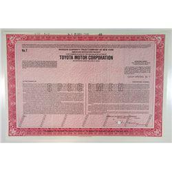 Toyota Motor Corp., 1989 Specimen ADR Certificate
