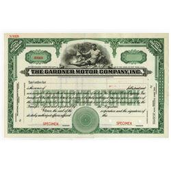Gardner Motor Co. ca.1920-30's Specimen Stock Certificate.