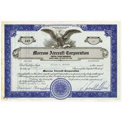 Morrow Aircraft Corp., 1941 Stock Certificate.