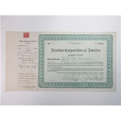 "Aviation Corporation of America, 1928 ""Serial #1"" Stock Certificate."