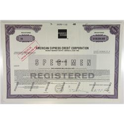 American Express Credit Corp., 1985 $100,000,000 Specimen Bond, this is the largest bond we have off