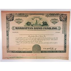 Manhattan Bond Fund, Inc 1939 Proof Stock Certificate