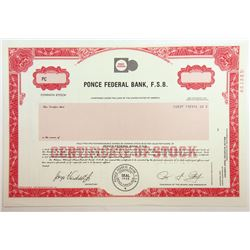 Ponce Federal Bank, F.S.B., 1987 Specimen Stock Certificate