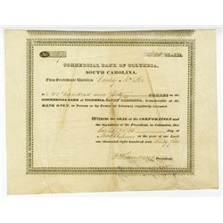 Commercial Bank of Columbia, 1835 Stock Certificate.