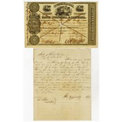 Commercial Bank of Columbia, South Carolina, 1844 Cancelled Stock Certificate