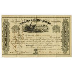 Farmers & Exchange Bank, 1864 Stock Certificate.