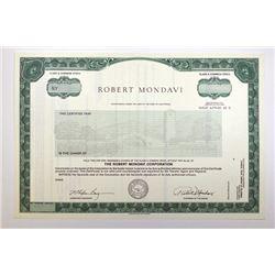 Robert Mondavi 1981 Specimen Stock Certificate.