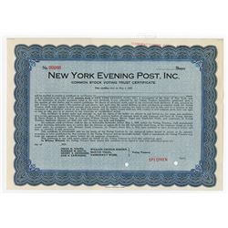 New York Evening Post, Inc., 1923 Specimen Common Stock Voting Trust Certificate.