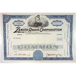 Zenith Radio Corp., ca.1960-1970 Specimen Stock Certificate